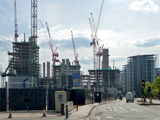 Building work being carried out in Nine Elms